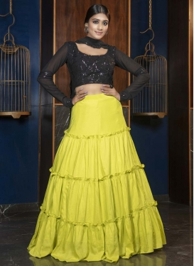 Resham Work Maslin Cotton Trendy Designer Lehenga Choli