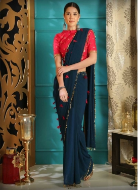 Resham Work Navy Blue and Rose Pink Traditional Designer Saree
