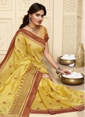 Resham Work Raw Silk Contemporary Style Saree