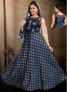 Resham Work Readymade Long Length Gown