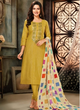 Resham Work Trendy Churidar Suit