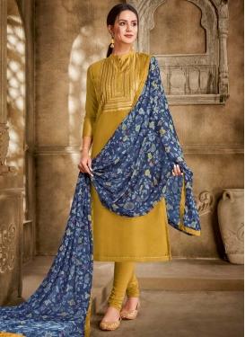 Resham Work Trendy Churidar Suit