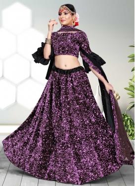 Resham Work Velvet Designer A Line Lehenga Choli