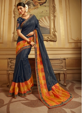 Resplendent Embroidered Navy Blue Art Silk Designer Traditional Saree