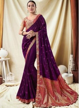 Resplendent Purple Lace Art Silk Classic Saree