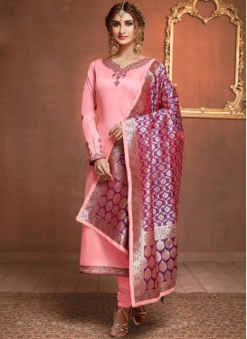 Riveting Embroidered Party Churidar Suit