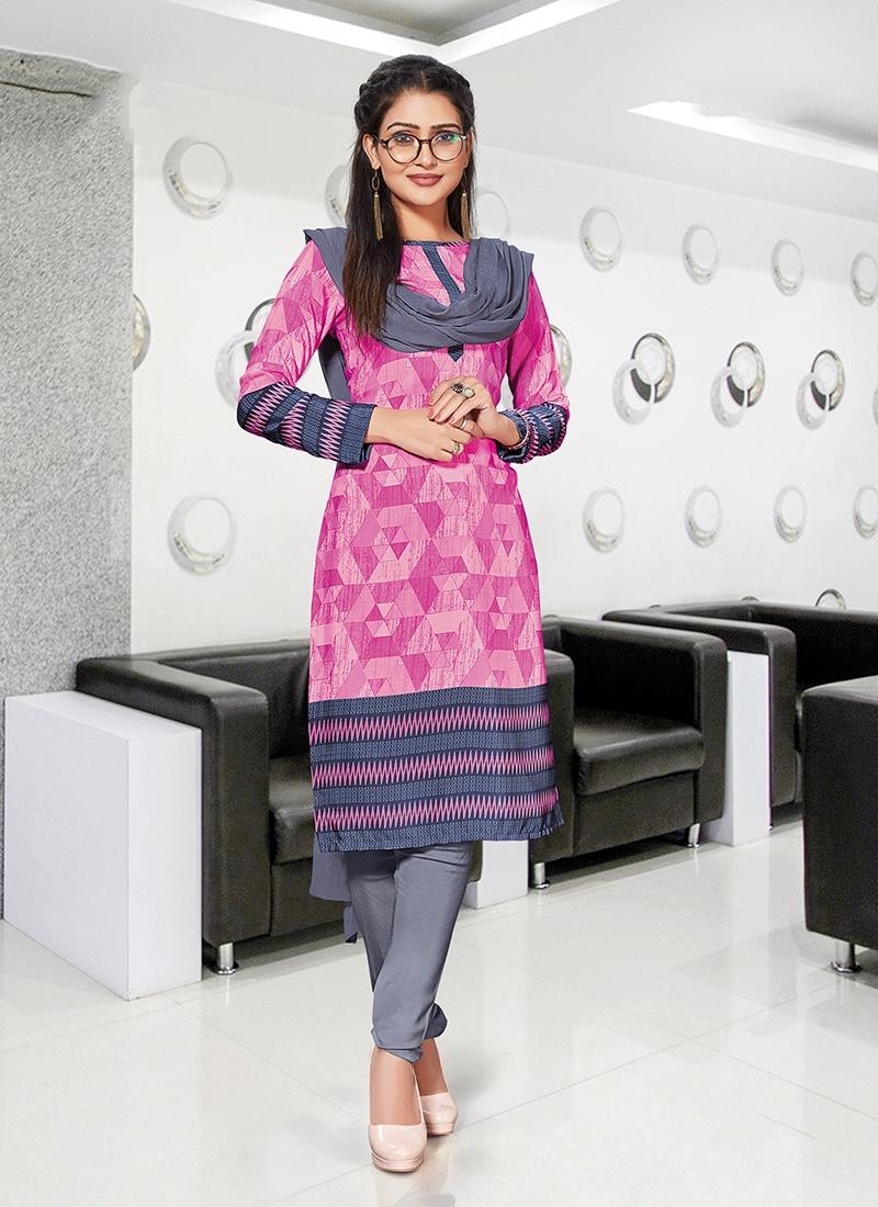 Riveting Print Crepe Silk Churidar Suit