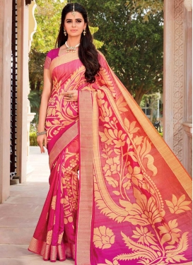 Rose Pink and Salmon Art Silk Designer Contemporary Style Saree