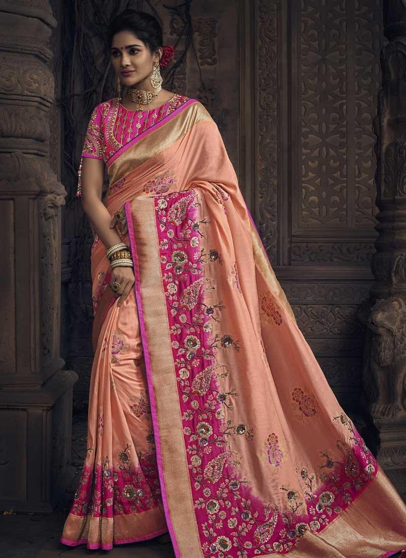 Rose Pink and Salmon Beads Work Traditional Designer Saree