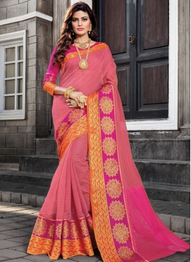 Rose Pink and Salmon Cotton Silk Trendy Classic Saree