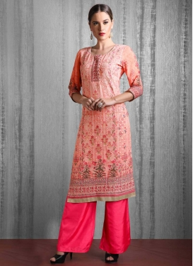 Rose Pink and Salmon Readymade Salwar Kameez