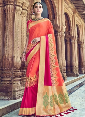 Rose Pink and Salmon Thread Work Designer Traditional Saree