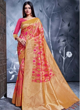 Rose Pink and Salmon Traditional Designer Saree For Ceremonial