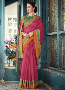 Rose Pink and Sea Green Contemporary Style Saree