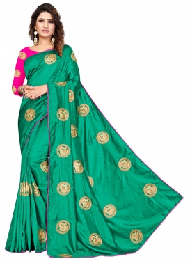 Rose Pink and Sea Green Embroidered Work Designer Traditional Saree
