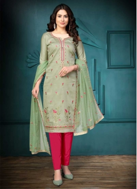 Rose Pink and Sea Green Pant Style Straight Salwar Kameez