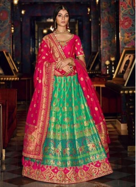 Rose Pink and Sea Green Silk A Line Lehenga Choli