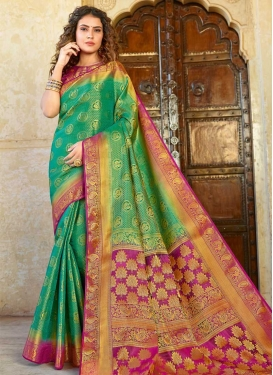 Rose Pink and Sea Green Trendy Classic Saree For Ceremonial