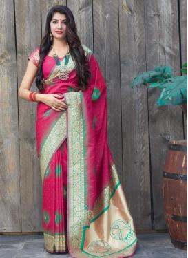 Rose Pink and Sea Green Woven Work Banarasi Silk Designer Traditional Saree