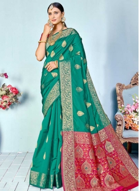Rose Pink and Sea Green Woven Work Designer Contemporary Style Saree
