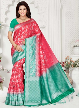Rose Pink and Sea Green Woven Work Designer Traditional Saree