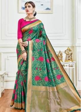 Rose Pink and Sea Green Woven Work Traditional Designer Saree