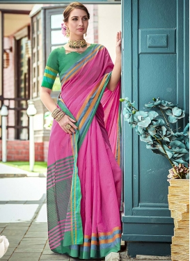 Rose Pink and Sea Green Woven Work Trendy Classic Saree