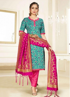 Rose Pink and Teal Art Silk Pant Style Straight Salwar Suit