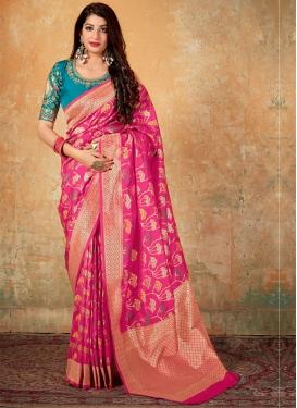 Rose Pink and Teal Banarasi Silk Trendy Classic Saree For Festival