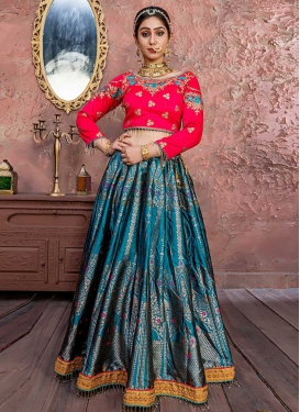 Rose Pink and Teal Banarasi Silk Trendy Lehenga For Bridal