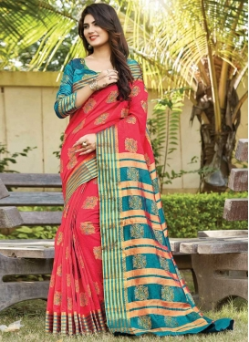 Rose Pink and Teal Cotton Trendy Classic Saree