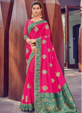 Rose Pink and Teal Embroidered Work Designer Contemporary Saree