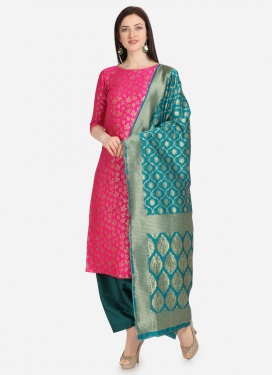 Rose Pink and Teal Palazzo Style Pakistani Salwar Kameez