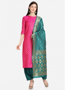 Rose Pink and Teal Palazzo Style Pakistani Salwar Kameez For Casual