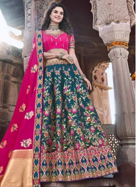 Rose Pink and Teal Silk Trendy Lehenga Choli