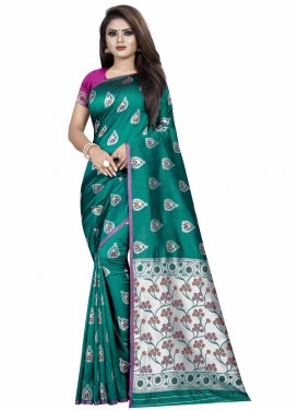Rose Pink and Teal Thread Work Designer Contemporary Style Saree