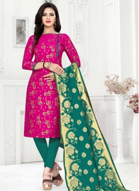 Rose Pink and Teal Trendy Churidar Salwar Kameez