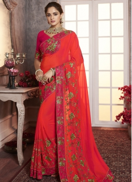 Rose Pink and Tomato Embroidered Work Traditional Designer Saree