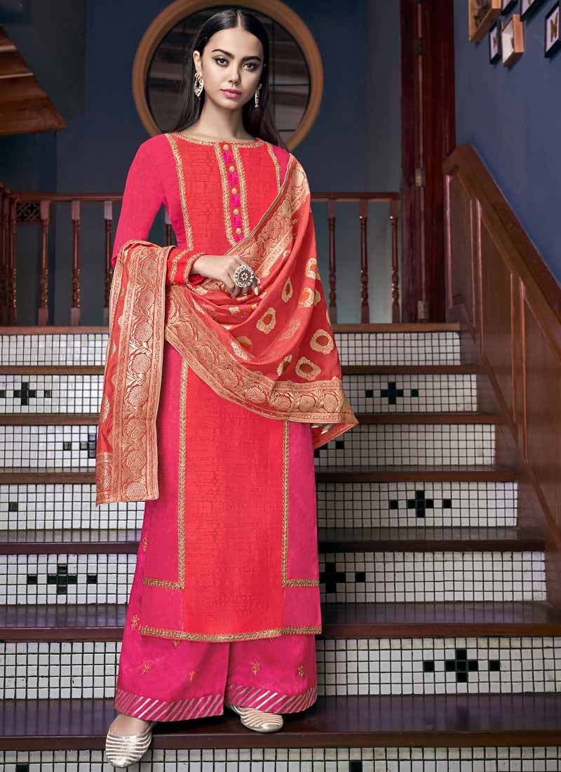 Rose Pink and Tomato Palazzo Style Pakistani Salwar Suit