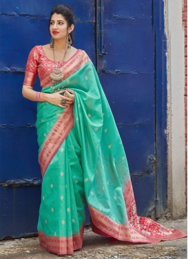 Rose Pink and Turquoise Designer Contemporary Saree