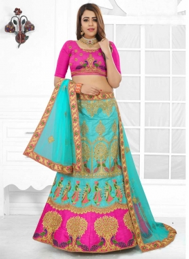 Rose Pink and Turquoise Embroidered Work Trendy Lehenga Choli
