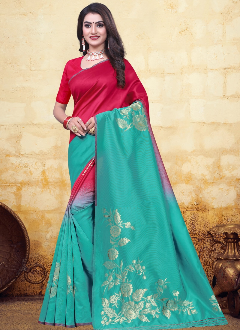 Rose Pink and Turquoise Woven Work Trendy Designer Saree