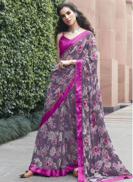 Rose Pink and Violet Contemporary Style Saree For Casual