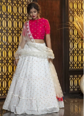 Rose Pink and White Trendy Lehenga Choli For Ceremonial