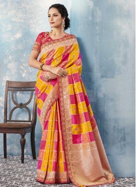 Rose Pink and Yellow Banarasi Silk Trendy Classic Saree