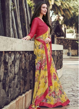 Rose Pink and Yellow Digital Print Work Designer Contemporary Style Saree