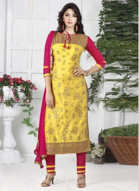 Rose Pink and Yellow Pant Style Designer Salwar Kameez