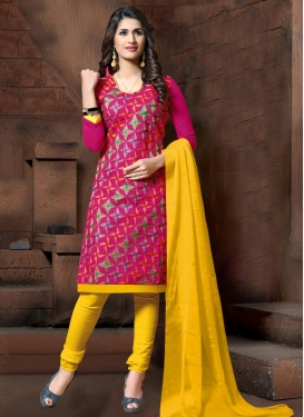 Rose Pink and Yellow Trendy Churidar Salwar Suit