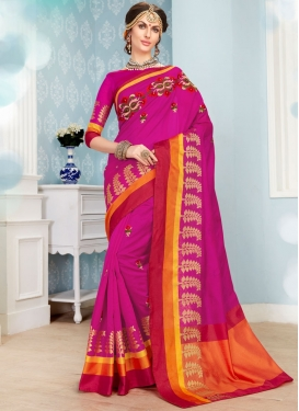 Rose Pink Art Silk Cotton Traditional Saree