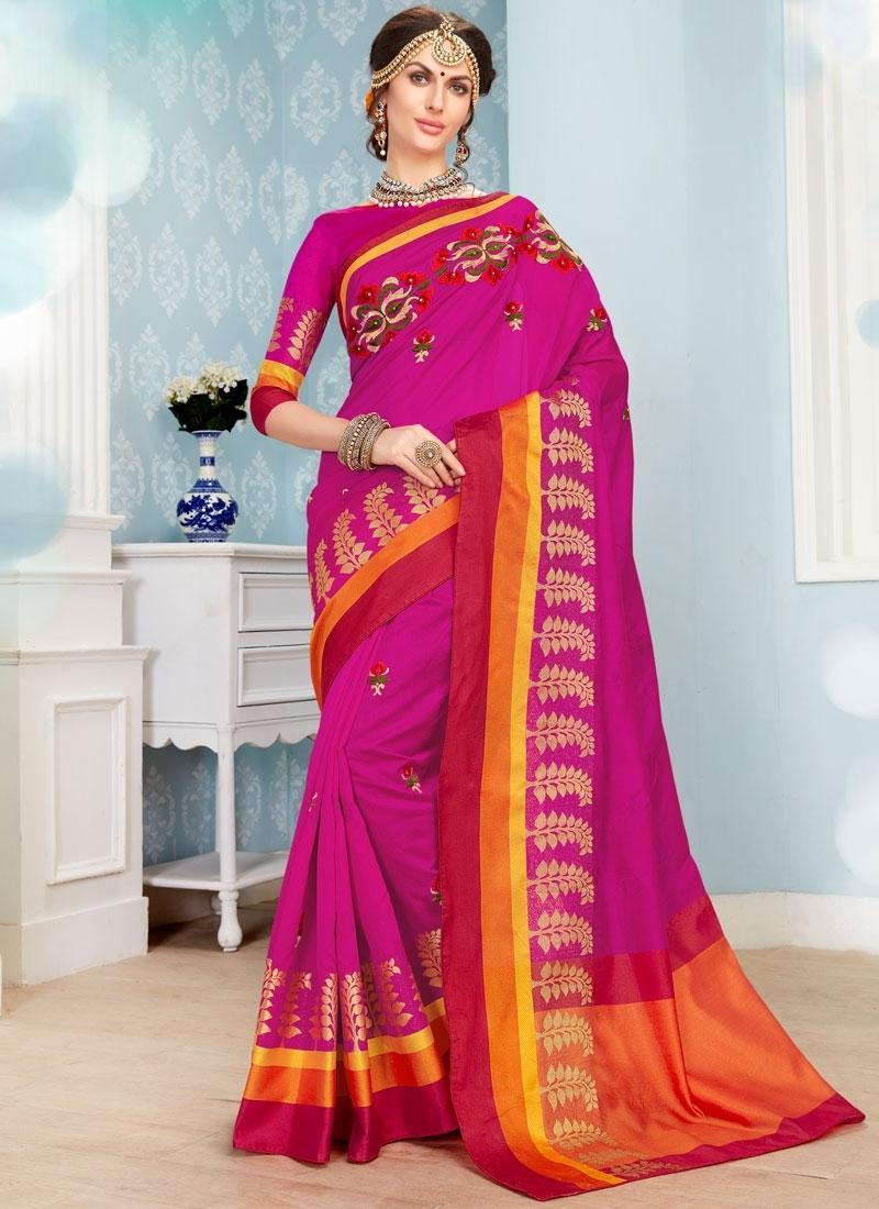 Rose Pink Art Silk Cotton Traditional Saree